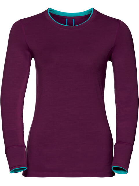 Odlo Natural 100% Merino Warm Stand-up Collar Shirt L/S Women pickled beet/blue radiance